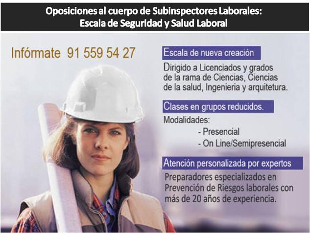 IMAFE Oposiciones al Cuerpo de Subinspectores Laborales: Escala de Seguridad y Salud Laboral